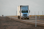 Trucks and traffic on US 95, Mineral County, Nevada.