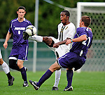 11 September 2009: University of Vermont Catamount forward/midfielder T.J. Gore (7), a Senior from Macomb, MI, in action against the University of Portland Pilots, in the first round of the 2009 Morgan Stanley Smith Barney Soccer Classic held at Centennial Field in Burlington, Vermont. The Catamounts and Pilots battled to a 1-1 double-overtime tie. Mandatory Photo Credit: Ed Wolfstein Photo