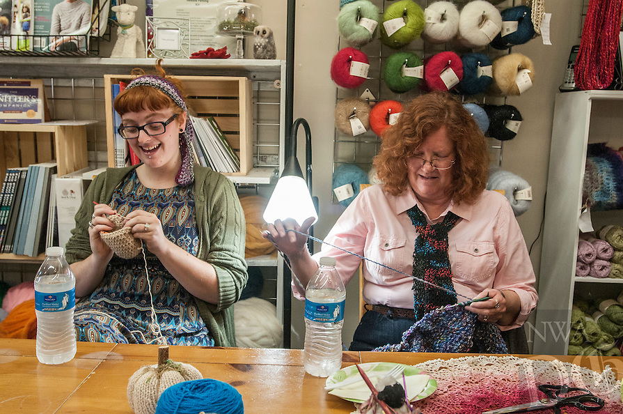 STAFF PHOTO ANTHONY REYES • @NWATONYR<br /> ALL NAMES CQUED<br /> B'ney Landis, left, of Gentry, and Lois Allen, of Bella Vista, crochet and knit Thursday, Sept. 18, 2014 during a crocheting and knitting class at Mockingbird Moon in Rogers. Landis is making the second in a pair of slippers and Allen is working on a cowl.