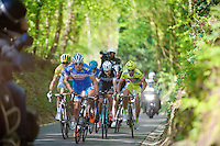 race leaders Bjorn Leukemans (BEL/Wanty-GroupeGobert), Simon Gerrans (AUS/Orica-GreenEDGE) & co up the Hagaard hill<br /> <br /> Brabantse Pijl 2014