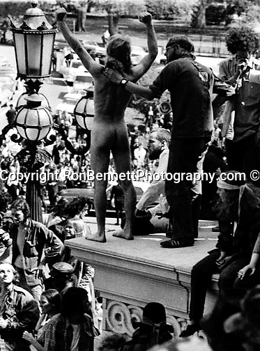 Nude Anti war demonstrator at US Capitol May 1971, Opposition to the U.S. Involvement in the Vietnam War is significant because it was the first time a war was shown and accessed through to the public on television, Protests gained momentum from the Civil Right's Movements that had organized to oppose segregation laws,