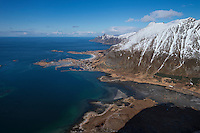 Village of Ramberg as seen from summit of Volandstind, Flakstadøy, Lofoten Islands, Norway