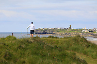 David Byrne (Athenry) on the 12th tee enjoying the view during Round 3 of The South of Ireland in Lahinch Golf Club on Monday 28th July 2014.<br /> Picture:  Thos Caffrey / www.golffile.ie