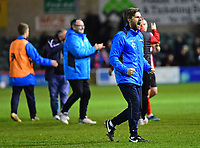 Lincoln City's assistant manager Nicky Cowley celebrates the victory<br /> <br /> Photographer Andrew Vaughan/CameraSport<br /> <br /> Vanarama National League - Lincoln City v Chester - Tuesday 11th April 2017 - Sincil Bank - Lincoln<br /> <br /> World Copyright &copy; 2017 CameraSport. All rights reserved. 43 Linden Ave. Countesthorpe. Leicester. England. LE8 5PG - Tel: +44 (0) 116 277 4147 - admin@camerasport.com - www.camerasport.com