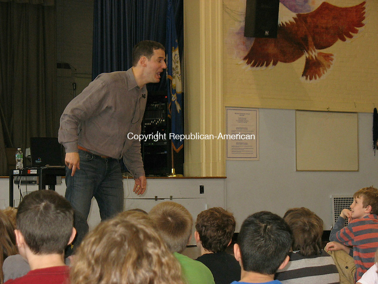 """WOODBURY, CT - 26 January 2010 - 102610RH01 - Jake Halpern, co-author of the fantasy book """"Dormia,"""" talks to Mitchell Elementary School pupils in Woodbury about storytelling Tuesday."""