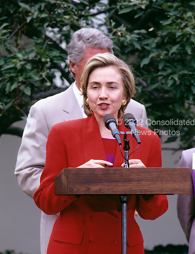 First lady Hillary Rodham Clinton speaks to members of the League of Women Voters in the Rose Garden of the White House in Washington, D.C. on June 7, 1993.<br /> Credit: Ron Sachs / CNP