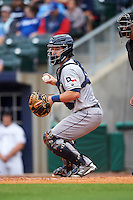 San Antonio Missions catcher Jason Hagerty (22) checks a runner during a game against the NW Arkansas Naturals on May 30, 2015 at Arvest Ballpark in Springdale, Arkansas.  San Antonio defeated NW Arkansas 5-1.  (Mike Janes/Four Seam Images)