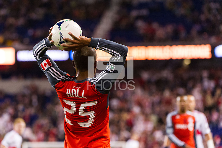 Jeremy Hall (25) of Toronto FC. The New York Red Bulls defeated Toronto FC 4-1 during a Major League Soccer (MLS) match at Red Bull Arena in Harrison, NJ, on September 29, 2012.