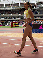 Jessica Ennis-Hill of GBR walks away after her final jump after competing in the Womens Long Jump during the Sainsbury's Anniversary Games, Athletics event at the Olympic Park, London, England on 25 July 2015. Photo by Andy Rowland.