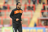 Blackpool's Nathan Delfouneso during the pre-match warm-up <br /> <br /> Photographer Kevin Barnes/CameraSport<br /> <br /> Emirates FA Cup First Round - Exeter City v Blackpool - Saturday 10th November 2018 - St James Park - Exeter<br />  <br /> World Copyright © 2018 CameraSport. All rights reserved. 43 Linden Ave. Countesthorpe. Leicester. England. LE8 5PG - Tel: +44 (0) 116 277 4147 - admin@camerasport.com - www.camerasport.com