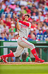 6 September 2014: Philadelphia Phillies outfielder Grady Sizemore in action against the Washington Nationals at Nationals Park in Washington, DC. The Nationals fell to the Phillies 3-1 in the second game of their 3-game series. Mandatory Credit: Ed Wolfstein Photo *** RAW (NEF) Image File Available ***