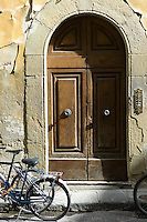 Typical Florentine doorway in Via del Campuccio, Florence, Italy