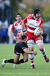 Gloucester's Ben Morgan is tackled by Saracens' Richard Wigglesworth - Rugby Union - 2014 / 2015 Aviva Premiership - Saracens vs. Gloucester - Allianz Park Stadium - London - 11/10/2014 - Pic Charlie Forgham-Bailey/Sportimage
