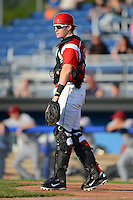 Batavia Muckdogs catcher Chad Wallach #55 during a game against the Mahoning Valley Scrappers on June 21, 2013 at Dwyer Stadium in Batavia, New York.  Batavia defeated Mahoning Valley 3-2.  (Mike Janes/Four Seam Images)