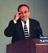 New York Mayor Rudy Guiliani adjusts his glasses during his talk at a National Press Club Luncheon in Washington, D.C. on May 27, 1997..Credit: Ron Sachs / CNP