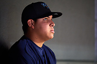 Mobile BayBears pitcher Jose Suarez (26) in the dugout during a game against the Jacksonville Jumbo Shrimp on April 14, 2018 at Baseball Grounds of Jacksonville in Jacksonville, Florida.  Mobile defeated Jacksonville 13-3.  (Mike Janes/Four Seam Images)