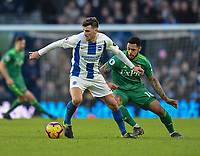 Watford's Andre Gray (right) battles with Brighton & Hove Albion's Pascal Gross (left) <br /> <br /> Photographer David Horton/CameraSport<br /> <br /> The Premier League - Brighton and Hove Albion v Watford - Saturday 2nd February 2019 - The Amex Stadium - Brighton<br /> <br /> World Copyright © 2019 CameraSport. All rights reserved. 43 Linden Ave. Countesthorpe. Leicester. England. LE8 5PG - Tel: +44 (0) 116 277 4147 - admin@camerasport.com - www.camerasport.com