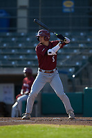 Liam Bendo (5) of the Saint Joseph's Hawks at bat against the Western Carolina Catamounts at TicketReturn.com Field at Pelicans Ballpark on February 23, 2020 in Myrtle Beach, South Carolina. The Hawks defeated the Catamounts 9-2. (Brian Westerholt/Four Seam Images)