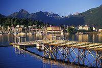 Coastal town of Sitka, Alaska, looking across Sitka Channel