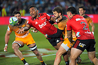 Sevu Reece gets his pass away during the 2019 Super Rugby final between the Crusaders and Jaguares at Orangetheory Stadium in Christchurch, New Zealand on Saturday, 6 July 2019. Photo: Dave Lintott / lintottphoto.co.nz