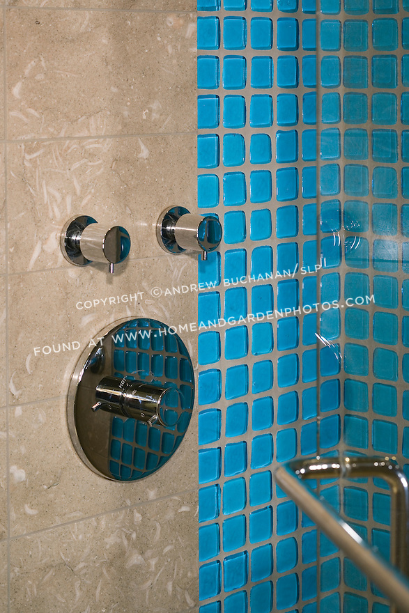 Blue glass tiles catch the eye in this shower. this image is available through an alternate architectural stock image agency, Collinstock located here: http://www.collinstock.com