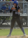 (Lowell MA 06/14/15) Medford 21, Cailey O'Leary, celebrates after hitting a two run triple  during the MIAA Division 1 State Final game, Sunday, June 14, 2015, at Martin Park in Lowell. Herald Photo by Jim Michaud