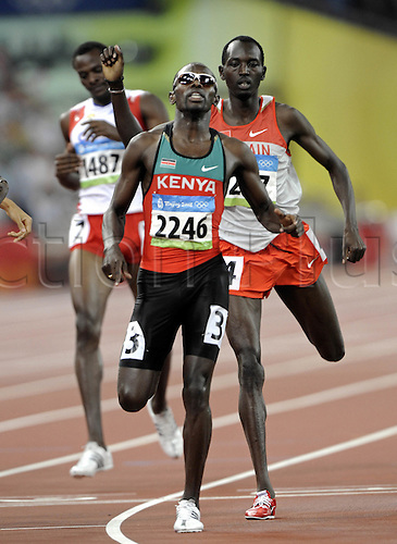 23 August 2008: Kenyan runner Wilfred Bungei (KEN) wins the men's 800m Final during the Beijing Olympics Photo: Leo Mason/Action Plus..olympics games 080823 beijing winner athletics