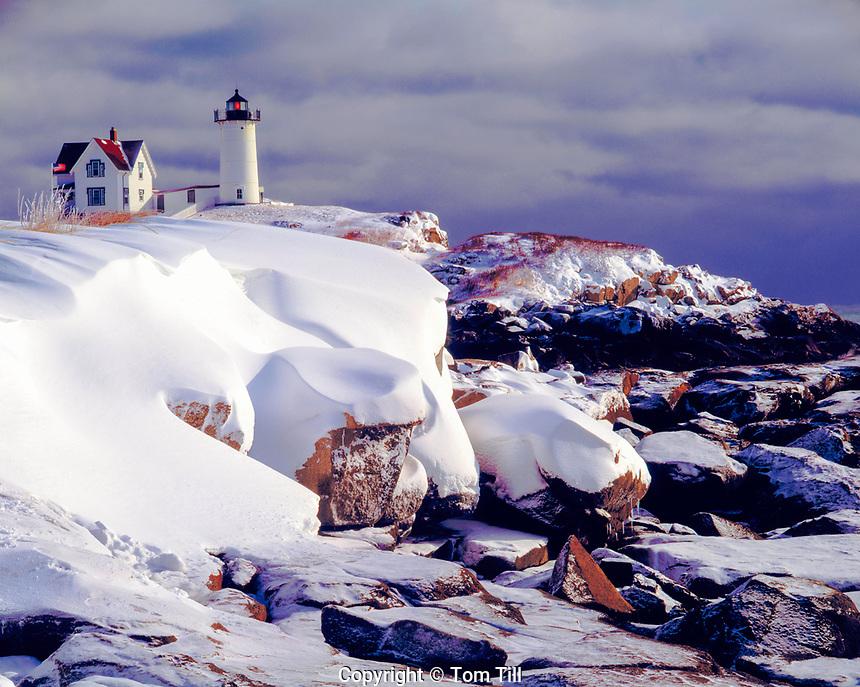 Cape Neddick Light in Winter, York, Maine  Atlantic Ocean