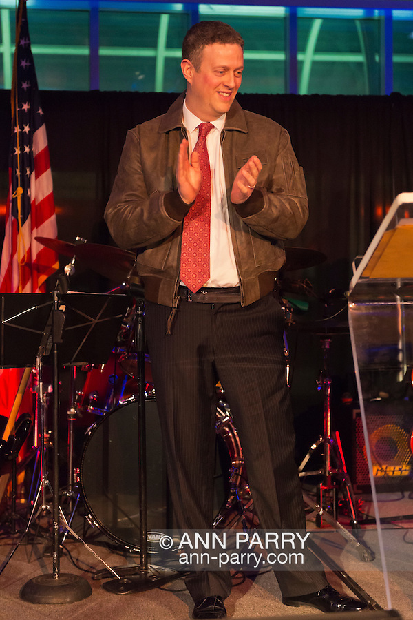 Feb. 27, 2013 - Garden City, New York, U.S. -  TODD R. RICHMAN is honored with the Donald E. Axinn Community Service Award, and also receives a flight jacket, at the 10th Annual Cradle of Aviation Museum Air & Space Gala, celebrating the 40th Anniversary of Apollo 17.