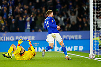 4th January 2020; King Power Stadium, Leicester, Midlands, England; English FA Cup Football, Leicester City versus Wigan Athletic; Harvey Barnes of Leicester City watches the ball goes past David Marshall of Wigan Athletic as Tom Pearce scores an own goal after 20 minutes (1-0) - Strictly Editorial Use Only. No use with unauthorized audio, video, data, fixture lists, club/league logos or 'live' services. Online in-match use limited to 120 images, no video emulation. No use in betting, games or single club/league/player publications