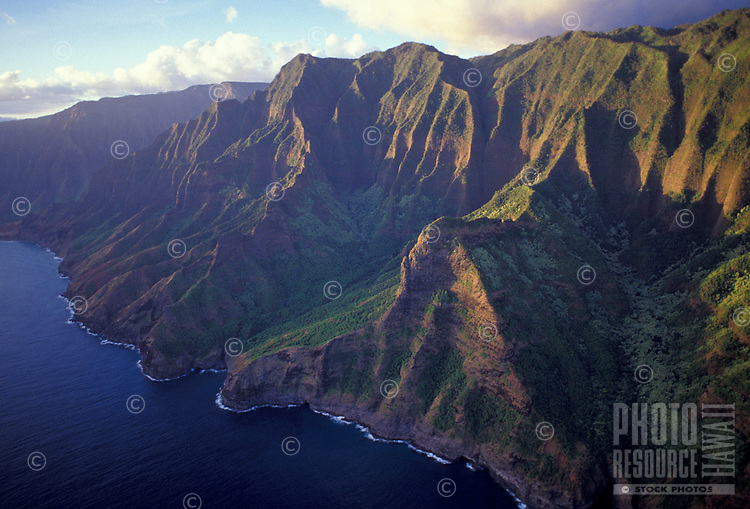 Awaawapuhi and Nualolo aina Valleys, Na Pali Coast State Park, late afternoon light, aerial photo