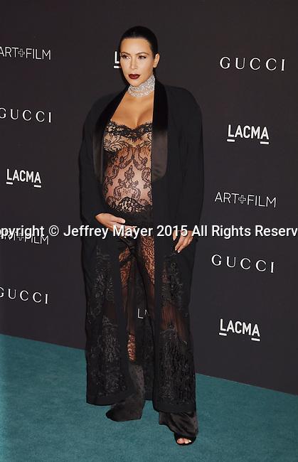 LOS ANGELES, CA - NOVEMBER 07: TV personality Kim Kardashian attends LACMA 2015 Art+Film Gala Honoring James Turrell and Alejandro G Iñárritu, Presented by Gucci at LACMA on November 7, 2015 in Los Angeles, California.