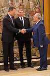 King Felipe VI of Spain receives in audience the Prime Minister of the republic of Tunisia Habib Essid at Zarzuela Palace in Madrid, October 27, 2015. <br /> (ALTERPHOTOS/BorjaB.Hojas)