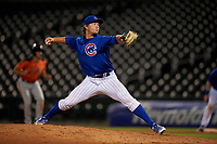 AZL Cubs 1 relief pitcher Shane Combs (48) during an Arizona League game against the AZL Giants Orange on July 10, 2019 at Sloan Park in Mesa, Arizona. The AZL Giants Orange defeated the AZL Cubs 1 13-8. (Zachary Lucy/Four Seam Images)