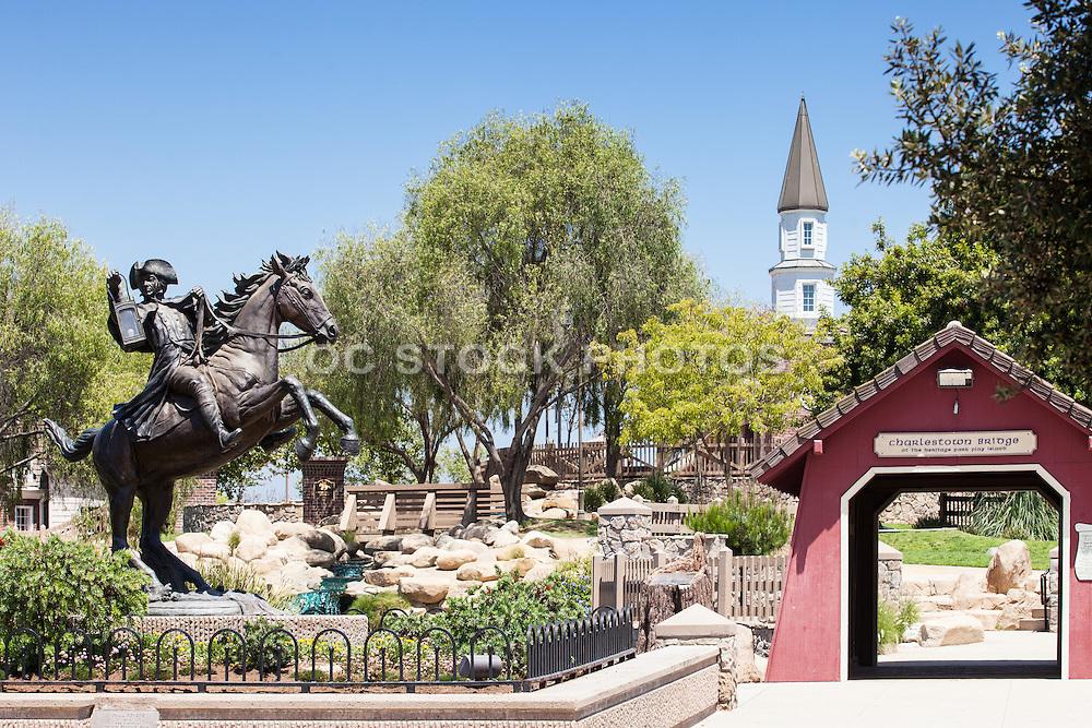 Charlestown Bridge And Paul Revere Statue At Heritage Park
