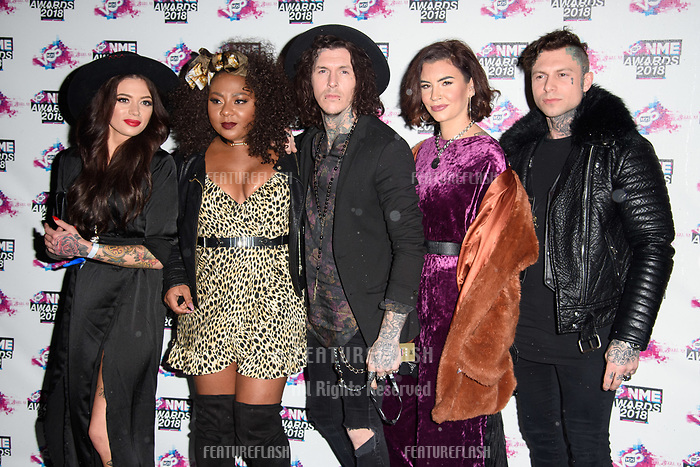 Tatoo Fixers at the VO5 NME Awards 2018 at the Brixton Academy, London, UK. <br /> 14 February  2018<br /> Picture: Steve Vas/Featureflash/SilverHub 0208 004 5359 sales@silverhubmedia.com