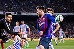 Lionel Messi of FC Barcelona (R) fights for the ball with Goalkeeper Miguel Angel Moya of Real Sociedad (L) during the La Liga match between Barcelona and Real Sociedad at Camp Nou on May 20, 2018 in Barcelona, Spain. Photo by Vicens Gimenez / Power Sport Images