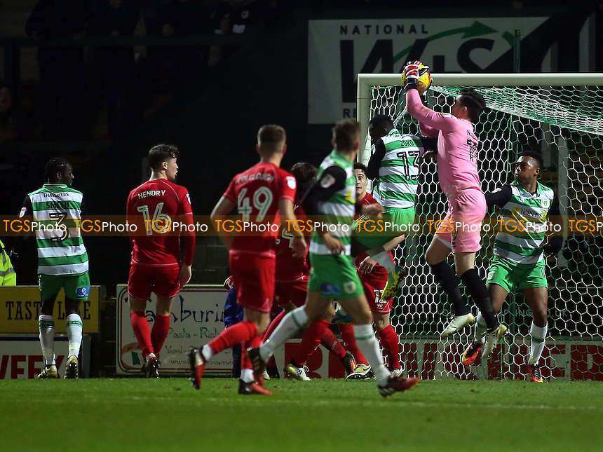 MK Dons goalkeeper, Lee Nicholls, makes a fine save during Yeovil Town vs MK Dons, Checkatrade Trophy Football at Huish Park on 6th December 2016