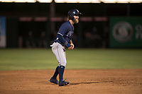 AZL Padres 2 second baseman River Stevens (9) takes a lead off second base in a rehab appearance during an Arizona League game against the AZL Angels at Tempe Diablo Stadium on July 18, 2018 in Tempe, Arizona. The AZL Padres 2 defeated the AZL Angels 8-1. (Zachary Lucy/Four Seam Images)