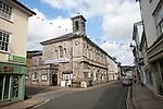 Shops and town hall in North Street, Ashburton, Devon, England