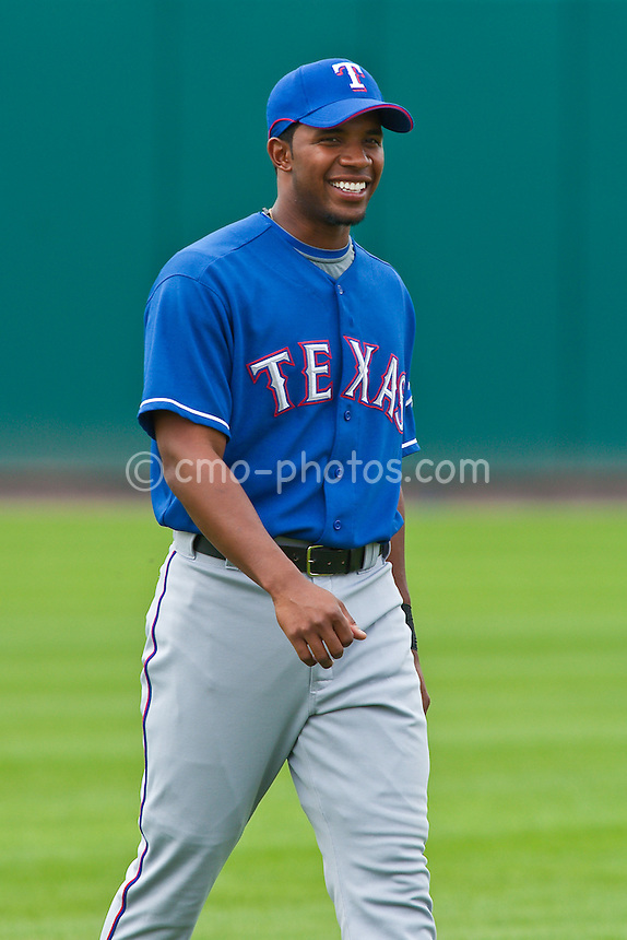 Mar 20, 2009; Tucson, AZ, USA; Texas Rangers shortstop Elvis Andrus prior to a spring training game against the Colorado Rockies at Hi Corbett Field.  The Rangers defeated the Rockies 11-5.