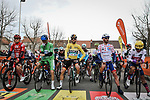 The Jersey leaders line up for the start of Stage 5 of the 78th edition of Paris-Nice 2020, running 227km from Gannat to La Cote-Saint-Andre, France. 12th March 2020.<br /> Picture: ASO/Fabien Boukla | Cyclefile<br /> All photos usage must carry mandatory copyright credit (© Cyclefile | ASO/Fabien Boukla)