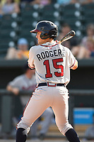 Second baseman Jordan Rodgers (15) of the Rome Braves bats in a game against the Columbia Fireflies on Sunday, July 2, 2017, at Spirit Communications Park in Columbia, South Carolina. Columbia won, 3-2. (Tom Priddy/Four Seam Images)