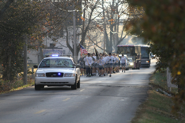ROTC cadets from UK and UofL ran 29 miles on Saturday, November 13, 2010 to honor veterans, soldiers missing in action and prisoners of war.  They ran on Old Frankfort Pike from UK's campus to the Vietnam Veterans Memorial in Frankfort, Ky.  .Photo by Latara Appleby | Staff