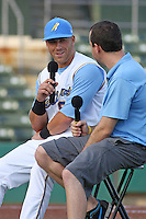 Myrtle Beach Pelicans third baseman Michael Olt #9 being interviewed by Pelicans radio announcer Tyler Maun before a game vs. the Salem Red Sox at BB&T Coastal Field in Myrtle Beach, South Carolina on May 26, 2011.   Photo By Robert Gurganus/Four Seam Images