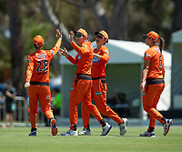 24th November 2019; Lilac Hill Park, Perth, Western Australia, Australia; Womens Big Bash League Cricket, Perth Scorchers versus Sydney Sixers; Perth scorchers celebrate the wicket of Ashleigh Gardner of the Sydney Sixers - Editorial Use