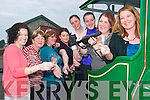 Taking the train: Cracking open the bubbly at Siobhan Hanley's hen party which began at the Lartigue Monorail in Listowel on Saturday afternoon, from l-r Elaine Carty, Mary Hanlon, Catriona Hanley, Davina O'Connell, Ellen McGlynn, Bett O'Sullivan, chief bridesmaid Mairead Hanley and bride to be Siobhan..   Copyright Kerry's Eye 2008
