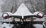 Blackbird SR-71 at U.S. Space & Rocket Center in snow on Christmas Day Dec. 25, 2010.  Bob Gathany Photographer