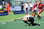 The Hague, Netherlands, June 13: Lydia Haase #12 of Germany defends during the match during the field hockey placement match (Women - Place 7th/8th) between Korea and Germany on June 13, 2014 during the World Cup 2014 at Kyocera Stadium in The Hague, Netherlands. Final score 4-2 (2-0)  (Photo by Dirk Markgraf / www.265-images.com) *** Local caption ***