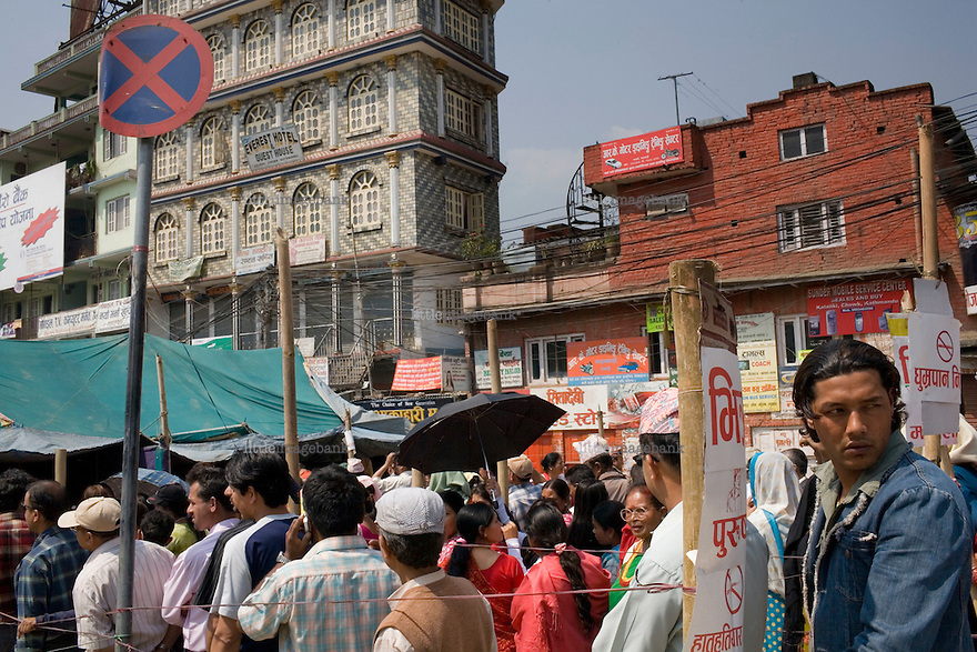 People in line for the polls. Policeforces geared up for massive riots, but none erupted. April 10th 2008 the historic Consistuent assembly elections took place in Nepal, putting an end to a centuries of monarchy. The assembly will form a new constitution and abolish the monarchy and King Gyanendras rule. The big question remains if the new maoist led government will be a positive or a negative factor in a country that recently emerged from a decade of civilwar. Photo: Christopher Olssøn.